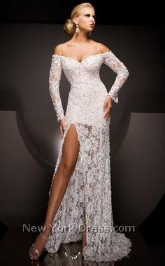 Off-Shoulder Floral Lace Gown by Tony Bowls