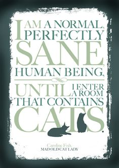 """Quotable card by Caroline Fish at Mad Old Cat Lady: I am a normal, perfectly sane human being until I enter a room that contains cats."""""""