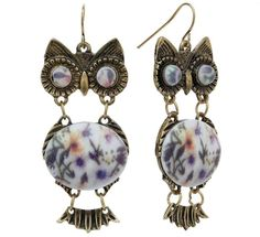 Mudd gold tone flower bead owl drop earrings on shopstyle.com