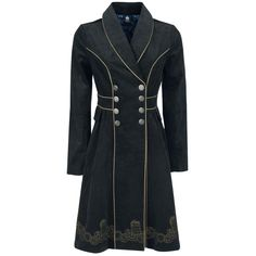 """- made of fine cord - coat seam embroidered - broad collar - double button row - buttons with Tardis pattern - gold-coloured braid applications - indicated waistband - two slide-in side pockets - lining in Tardis design  Ladies show their love for """"Doctor Who"""" with the Tardis Coat. The trenchcoat is made of fine cord and boasts with embroidered coat seam. The broad collar and the double row of buttons create the special look just as much as the buttons with Tardis pattern. Real eye-..."""
