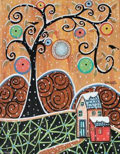 Snow Capped 11x14 House Birds ORIGINAL Canvas PAINTING FOLK ART ABSTRACT Karla G...Brand new painting, now for sale..