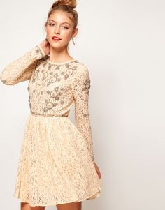 Perfect holiday party dress! ASOS Lace Skater Dress With Crystal Embellishment
