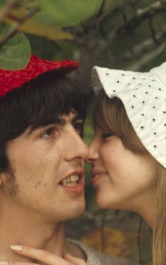 """truthaboutthebeatlesgirls: """"February 1966 - George and Pattie close-up on Sandy Lane Beach, Barbados. Ebay auction listing slide transparency. """""""