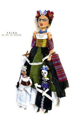 Art Doll Frida and Marionettes  By du_bu_du_designs