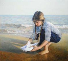 Paper Boat by Odysseas Oikonomou Albanian-born Greek) Boat Illustration, Greek Art, Portraits, Beach Scenes, Beach Art, Traditional Art, Art History, Art For Kids, Art Children