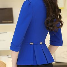 back Solid Color Ruffled Blazers feminino Fashion Slim elegant Casual Coat Casual Skirt Outfits, Fall Outfits, Suit Stores, Hijab Style, Formal Suits, Work Jackets, Blazer Fashion, Work Attire, Ladies Dress Design