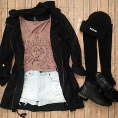 Black Lapel Long Sleeve Loose Pockets Outerwear
