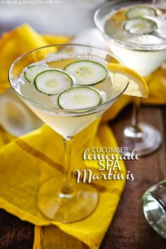 "Sip: Cucumber Lemonade Spa Martinis recipe found here Described as ""crisp + clean"" . Fun Cocktails, Party Drinks, Cocktail Drinks, Fun Drinks, Alcoholic Drinks, Beverages, Martini Party, Martinis, Martini Recipes"