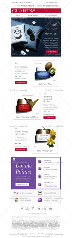 Clarins Newsletters - Summer Nights, Super Savings: 2x points ends tonight