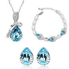 HSG-heisse Verkaufs Hellblau Tropfenfoermigen Kristall-Schmucksachen (3 Stueck: Halskette + Ohrringe + Armband) JM2344 - http://schmuckhaus.online/hsg/hsg-heisse-verkaufs-hellblau-tropfenfoermigen-3