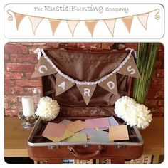 White CARDS Burlap  Lace SHABBY Bunting WEDDING VINTAGE RUSTIC party decoration eBay - The Rustic Bunting Company