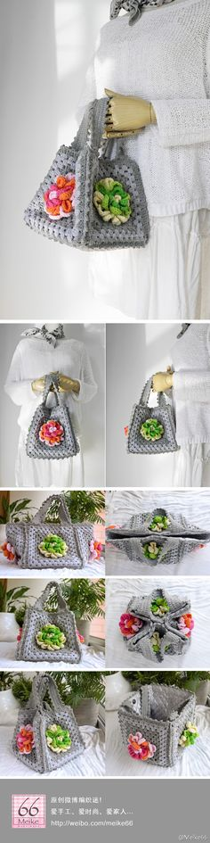 Cute little purse, just 5 crocheted squares and some handles: Inspiration!