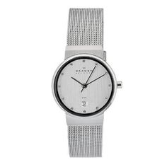 Skagen Men's O355SSSC Quartz Silver Dial Stainless Steel Watch Skagen. $55.00. Water-resistant to 30 M (99 feet). Durable mineral crystal protects watch from scratches,. Case diameter: 25mm. Quartz movement. Casual watch