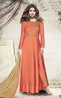 Add grace and charm on your appearance in this orange georgette anarkali salwar kameez. The wonderful dress creates a dramatic canvas with embroidered and zari work. Comes with matching bottom and dup. Designer Anarkali, Designer Kurtis, Designer Dresses, Pakistani Dresses, Indian Dresses, Indian Outfits, Indian Clothes, Eid Dresses, Pakistani Bridal