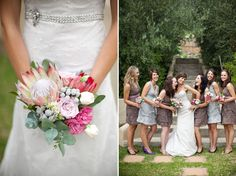 I am sure I want to do a single King Protea bouquet for myself but I'm completely unsure what kind of flowers would look nice for bridesmaids bouq Protea Wedding, Wedding Bouquets, Wedding Flowers, Wedding Dresses, My Wedding Planner, Wedding Blog, Brides And Bridesmaids, Bridesmaid Dresses, Flowers To Go