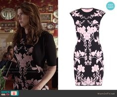 Lorelai's black and pink floral dress on Gilmore Girls: A Year in the Life.  Outfit Details: https://wornontv.net/62632/ #GilmoreGirls