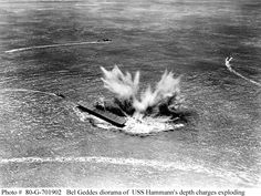 A massive bomb-burst rocks the USS Yorktown at the Battle of Midway.