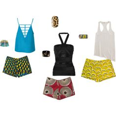 Loving the African Print Shorts!!, created by msmuir on Polyvore
