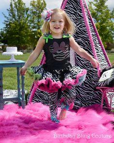 Girls Birthday Wild Zebra Rainbow Miss by birthdayblingcouture, $65.00