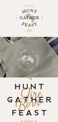 Hunt Gather Feast branding design, logo, apron | Flourish Collaborative