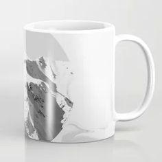 Black White Minimal Design Marble And Mountain Peaks Coffee Mug