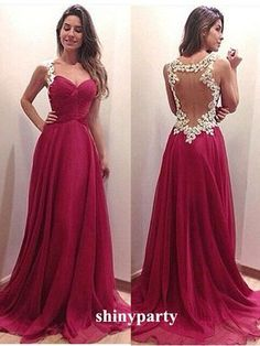 A-line Sweetheart Red Chiffon Long Prom Dresses, Evening Dresses #shinyparty #dress #prom #formal #long #red #backless #sweetheart