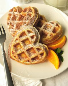 Orange Pecan Waffles: So yeah, we have a waffle maker. Be prepared for a barrage of waffles. Crepes, Best Breakfast, Breakfast Recipes, Valentines Breakfast, Food Porn, Salad In A Jar, Belgian Waffles, Pancakes And Waffles, Waffle Recipes