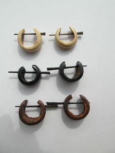 Set 3 Paar Ohrringe aus Kokosnuß Brasilien Piercing Ohr Hippie Goa Schmuck lot