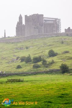 The historic Rock of Cashel seen through the mist in Ireland's County Tipperary