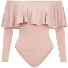 cde0c09a7d206 Mid Pink Frill Trim Long Sleeve Bardot Neck Bodysuit ( 25) ❤ liked on Polyvore  featuring intimates and shapewear