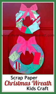 Scrap Paper Christmas Wreath Kids Craft definately somethin cute for my niece Christmas Activities For Kids, Holiday Crafts For Kids, Preschool Christmas, Christmas Themes, Kids Christmas, Holiday Fun, Christmas Wreaths, Holiday Quote, Thanksgiving Holiday
