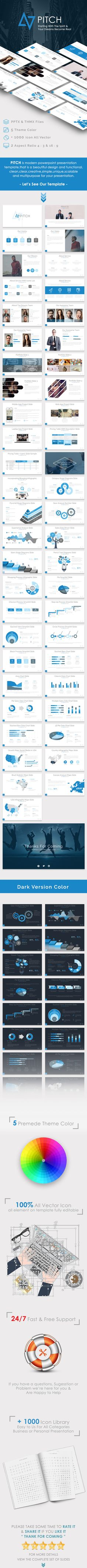 PITCH - Multipurpose Powerpoint Presentation Template  #clean #1920x1080 •…