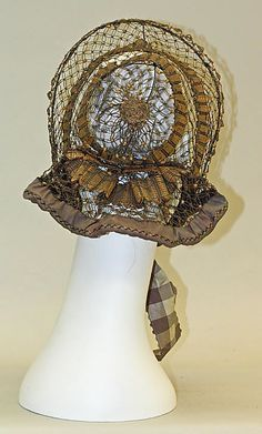 1860s ... Bonnet ... straw & horsehair ... at The Metropolitan Museum of Art ... photo 2