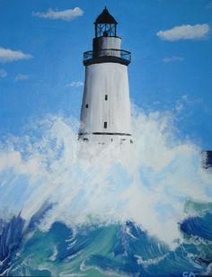 Tableau d'un phare breton et mer : Peintures par cat-crea Seaside Art, Seaside Theme, Lighthouse Painting, Strand, My Images, Around The Worlds, Nature, Outdoor, Light House