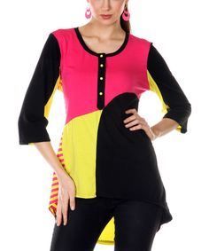 Take a look at the Jasmine Pink & Yellow Stripe Color Block Hi-Low Tunic on #zulily today!