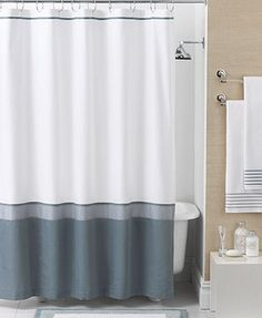 Hotel Collection Bath Accessories Color Block Shower Curtain