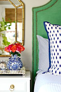 Kelly Green, Navy, and Pink Master Bedroom Bold, Colorful, Preppy Bedroom Dimples and Tangles Pink Master Bedroom, Bedroom Green, Home Bedroom, Bedroom Decor, Light Bedroom, Bedroom Furniture, Furniture Ideas, Relaxing Master Bedroom, Bedroom Ideas