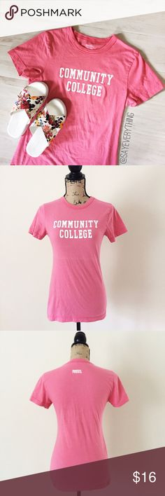 "Community College T-Shirt by Fossil Salmon pink cotton tee by Fossil. Community College in white, all caps letters. Size M and fitted. 100% cotton. Bust is 16"" across and length is 25."" There is stretch. Gently worn but still in excellent condition, no holes or stains. Tongue in cheek shirt  Thanks for looking! Fossil Tops"