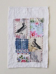 Small art quilt patchwork embroidered stitched by ColetteCopeland, $35.50