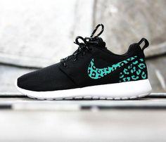 Custom Nike Roshe Ru     Custom Nike Roshe Run sneakers, teal blue cheetah print, leopard print, womens custom nike roshe cute trendy design Limited Stock