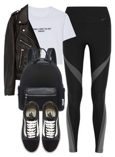 """Untitled #6206"" by laurenmboot ❤ liked on Polyvore featuring NIKE, WithChic, Jakke and Vans"