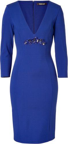 ROBERTO CAVALLI   Cobalt Sequined Front Sheath Dress - Lyst