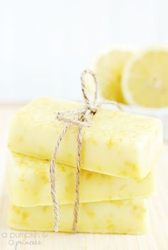 Homemade Lemon Soap - With only three ingredients required this soap recipe is easy to make and makes a wonderful gift.