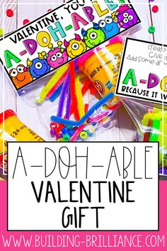Looking for a fun and punny Valentine's Day gift for students that allows them to be creative? This tag is absolutely A-DOH-ABLE!  Simple add some modeling dough, a few little knick nacks, such as googly eyes, gems, pipe cleaners, poms, buttons, beads, or mini erasers and staple this tag to the top of the bag of goodies.