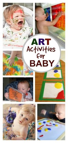 What can baby do? TONS! Here are over 20 fun art activities perfect for young babies (and toddlers too!) Includes tons of taste-safe paint recipes & mess-free art activities