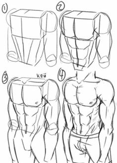 10 easy pencil drawing lessons for beginners Drawing Body Poses, Body Reference Drawing, Guy Drawing, Art Reference Poses, Drawing People, Drawing Muscles, How To Draw Muscles, Drawing Faces, Anatomy Reference