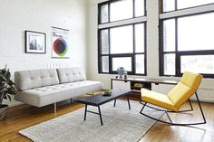 Yellow recliner coupled with light gray sofa and white brick wall backdrop in the living space - Decoist Sofas For Small Spaces, Living Spaces, Living Room Furniture, Living Room Decor, White Brick Walls, Style Deco, Lounge Sofa, Upholstered Sofa, Home Furnishings