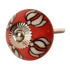 Ceramic Doorknob - Red & White
