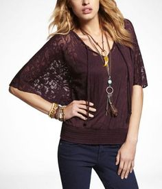 Express : this top looks perfect for layering into a Mori-kei coordi~! ^^