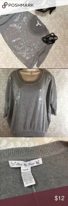 Silver and Gray Sweater with Clear Sequin Detail It's Party Time!!!  Silver and gray sweater.  3/4 length sleeves.  Light weight.  Size Small.  Excellent condition.  Bundle and save!   Thanks for shopping my closet!   🎉 Tops